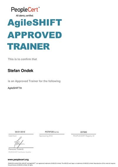 AgileSHIFT Approved Trainer certificate Stefan Ondek