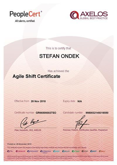 AgileSHIFT certificate Stefan Ondek