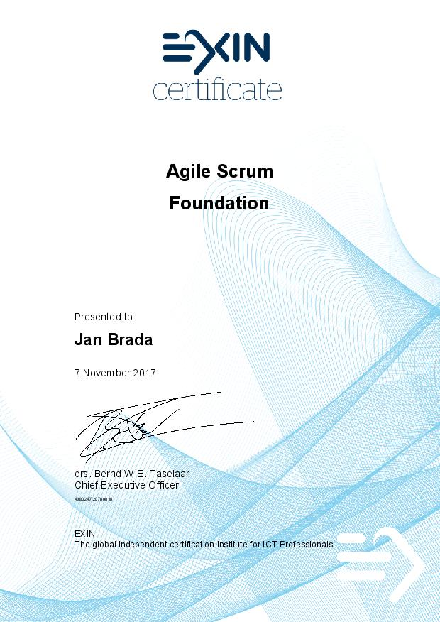 Certifikat Agile Scrum Foundation Jan Brada
