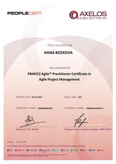 PRINCE2 Agile Practitioner certificate Hana Božková