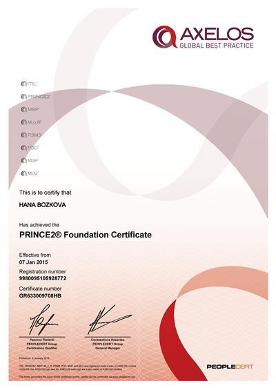 PRINCE2 Foundation certificate Hana Božková
