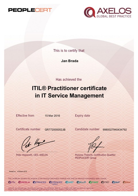 Certificates Jan Brada Itil Prince2 Pmi Etc Experts In