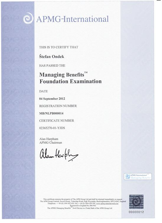 Management of Benefits - Foundation certificate