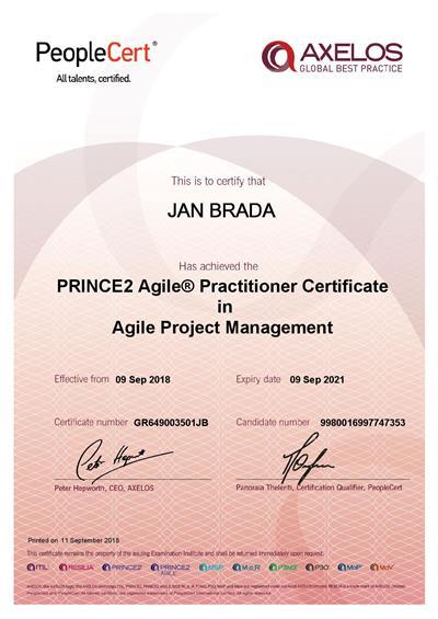 PRINCE2 Agile Practitioner certificate Jan Brada