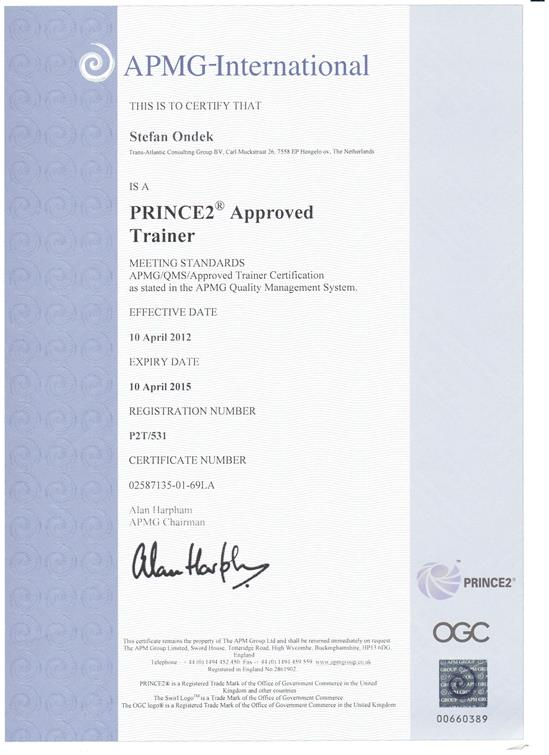PRINCE2 Approved Trainer 2012-2015 certificate