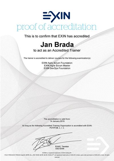 EXIN Accredited Trainer certificate Jan Brada
