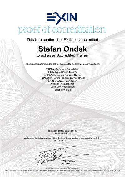 EXIN Accredited Trainer certificate Stefan Ondek