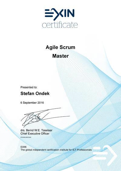 Agile Scrum Master Štefan Ondek certificate