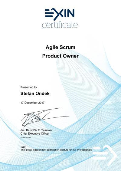 Agile Scrum Product Owner certificate Stefan Ondek