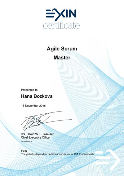 EXIN Agile Scrum Master certificate Hana Božková