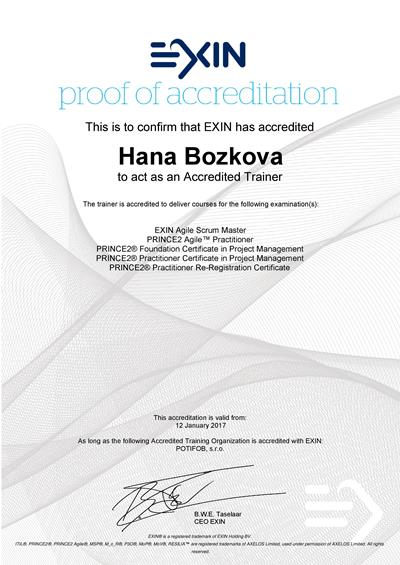Agile Scrum Master, PRINCE2 Agile a PRINCE2 Approved Trainer certificate Hana Božková