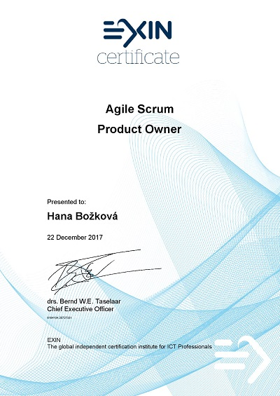 EXIN certificate Agile Scrum Product Owner