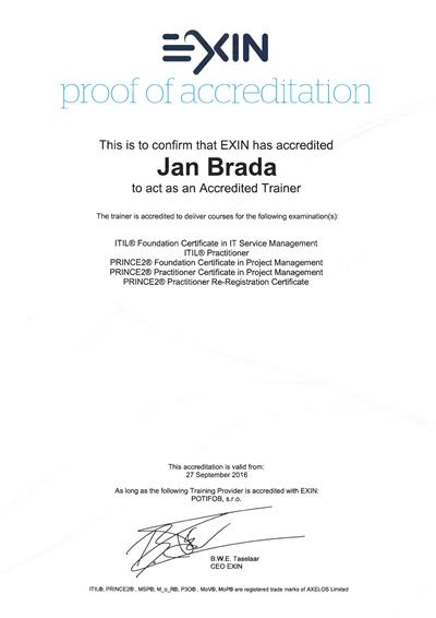 Jan Brada Approved Trainer ITIL, PRINCE2 EXIN