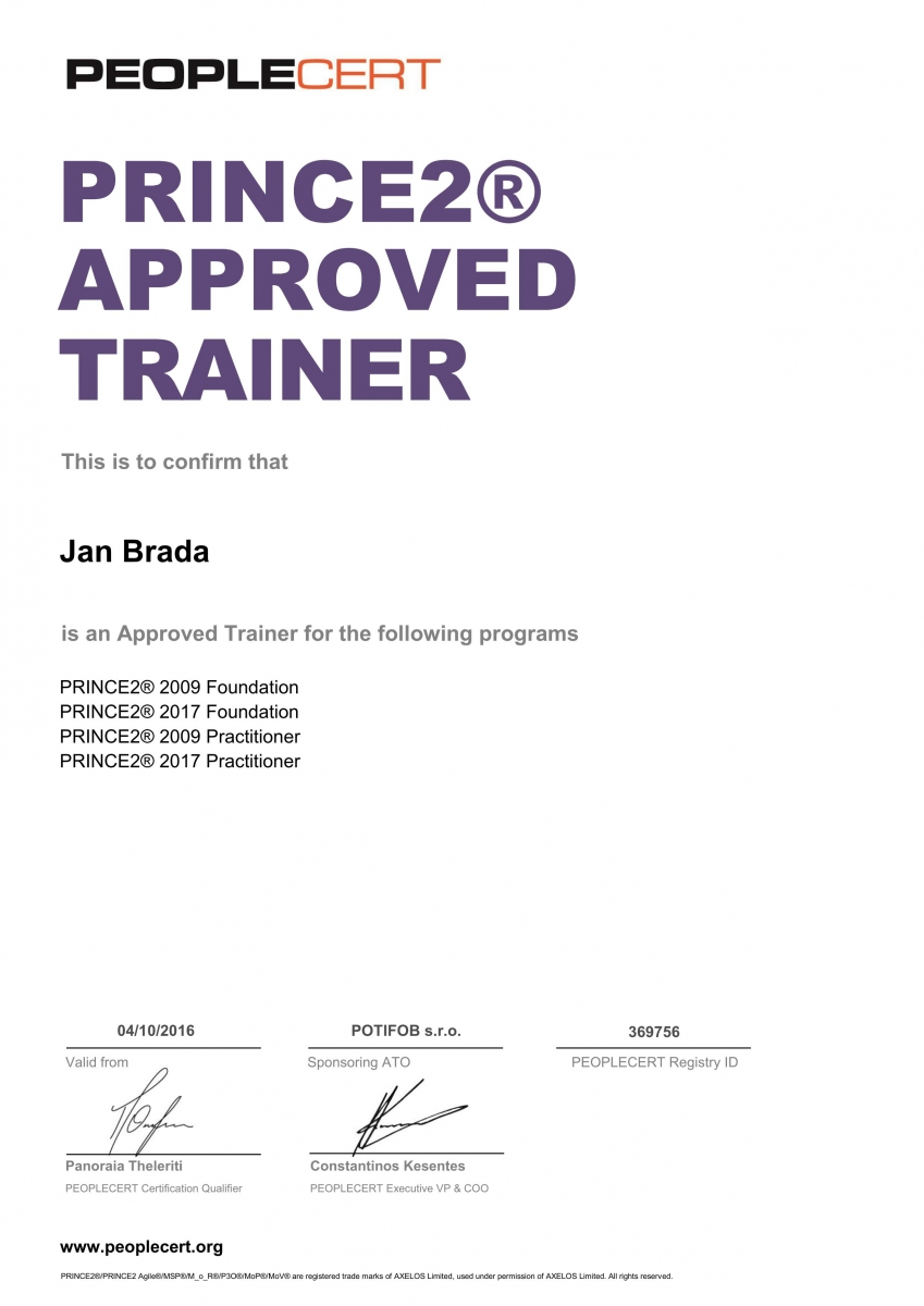 Jan Brada PRINCE2 2017 Approved Trainer PEOPLECERT
