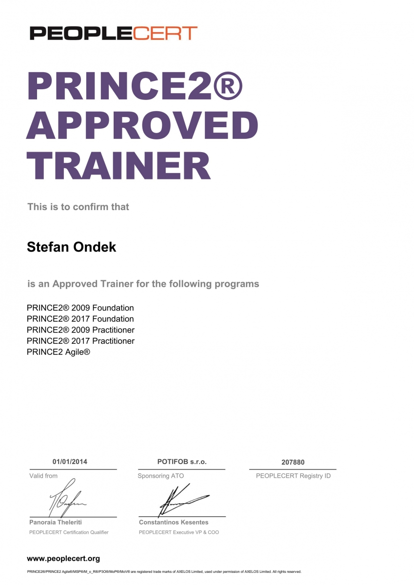 PRINCE2 2017 Approved Trainer PEOPLECERT