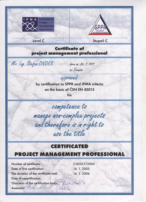 IPMA Level C Certificate