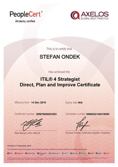 ITIL 4 DPI certificate Stefan Ondek