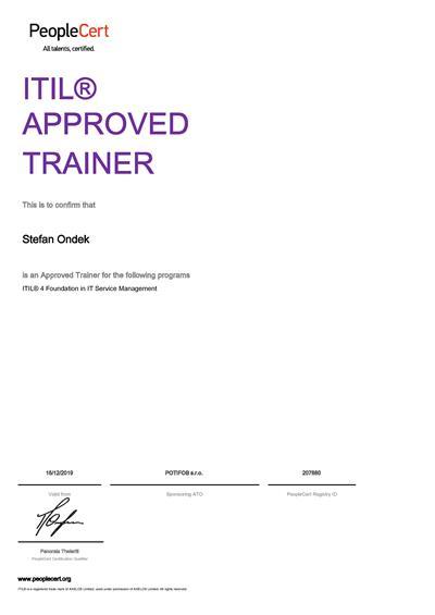 ITIL Approved Trainer certificate Stefan Ondek
