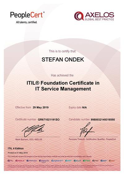 ITIL 4 Foundation certificate Stefan Ondek
