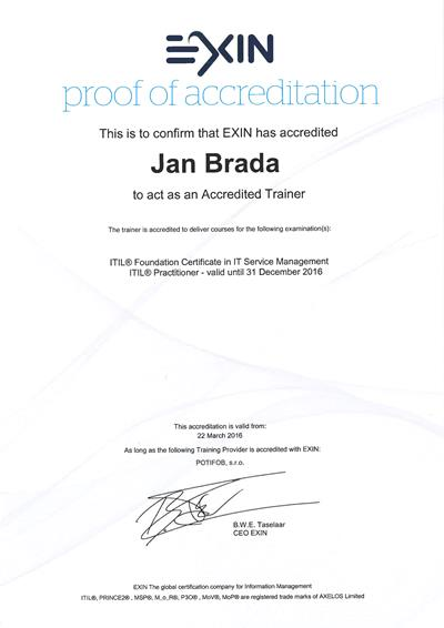 ITIL Approved Trainer Certificate Jan Brada by EXIN