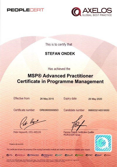 MSP Registered Advanced Practitioner Štefan Ondek certificate