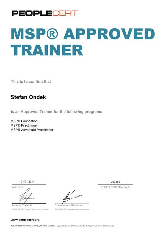 MSP Approved Trainer Certificate