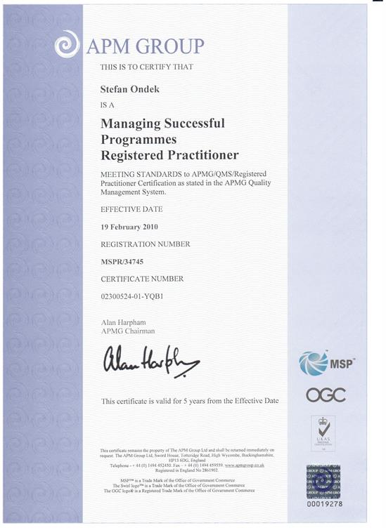 Managing Successfull Programmes - Practitioner certificate
