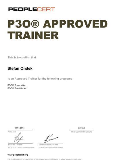 P3O Registered Practitioner certificate Štefan Ondek