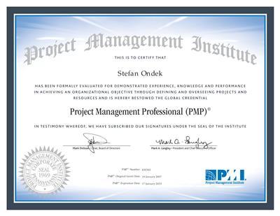 PMI PMP certificate Stefan Ondek