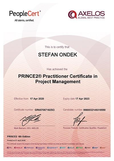 PRINCE2 6th Edition Practitioner certificate Stefan Ondek