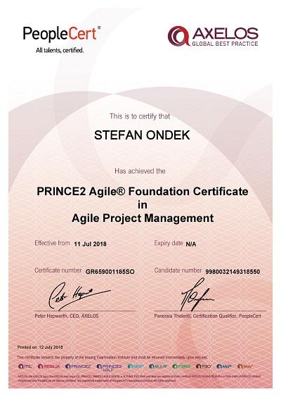 PRINCE2 Agile Foundation certificate Stefan Ondek