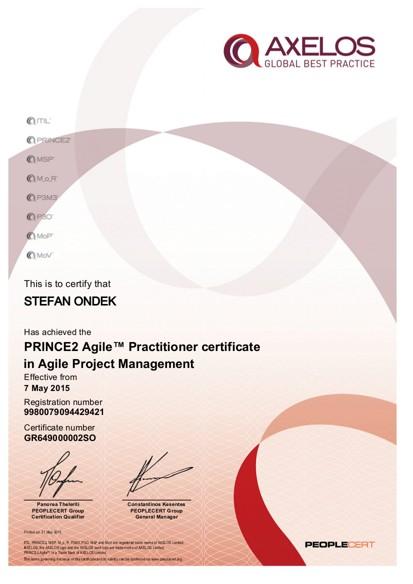 PRINCE2 Agile Practitioner certificate Štefan Ondek