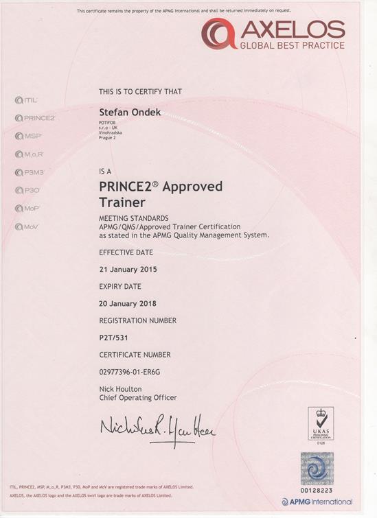 PRINCE2 Approved Trainer certificate Štefan Ondek APMG 2015-2018