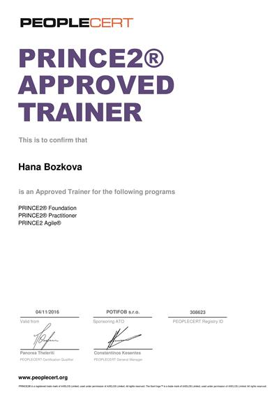PRINCE2 & PRINCE2 Agile Approved Trainer