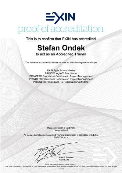 Certificate EXIN Agile Scrum Master, PRINCE2 a PRINCE2 Agile Accredited Trainer Štefan Ondek