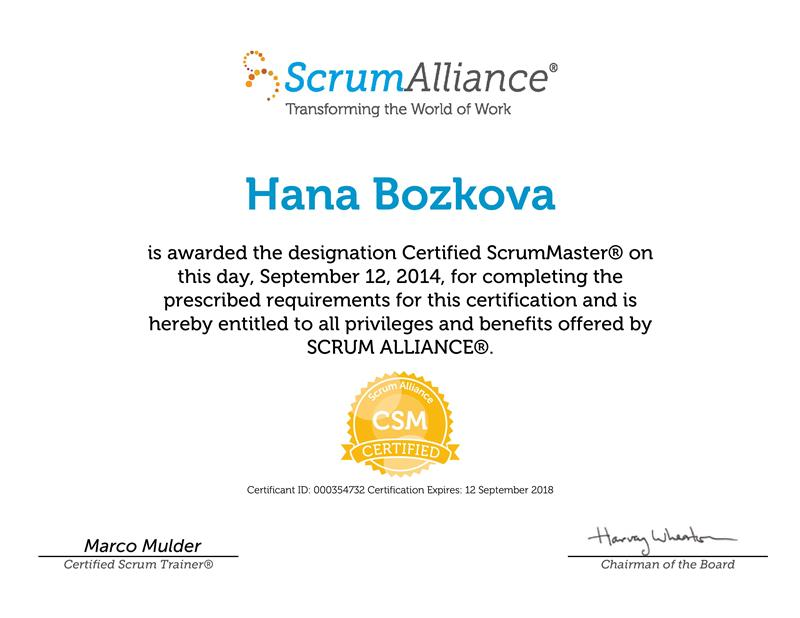 Certified Scrum Master certificate Hana Božková