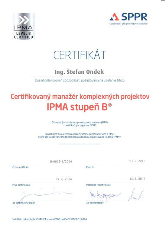 IPMA Level B certificate