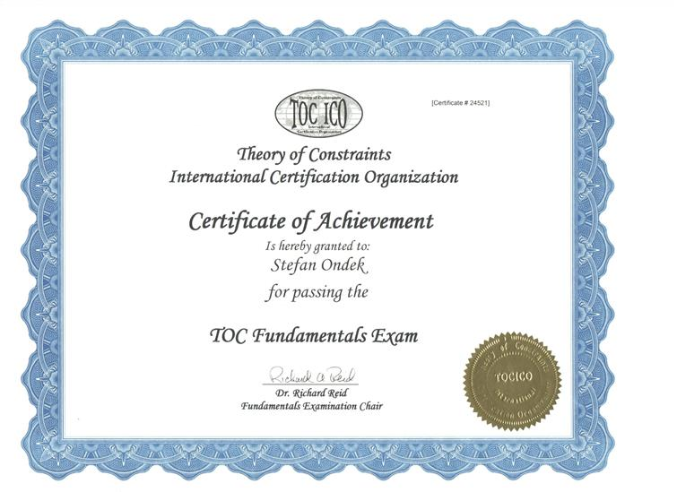 Theory of Constraints - Foundation certificate