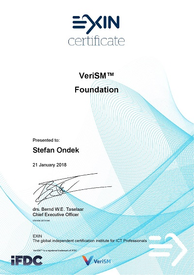 Certificate VeriSM Foundation by EXIN